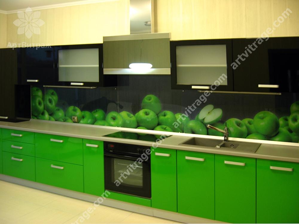 Кухонный фартук «Зеленые яблоки»