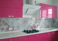 Кухонная панель «Розовые цветы»