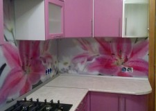 Фотовитраж для кухонной панели «Розовые лилии»