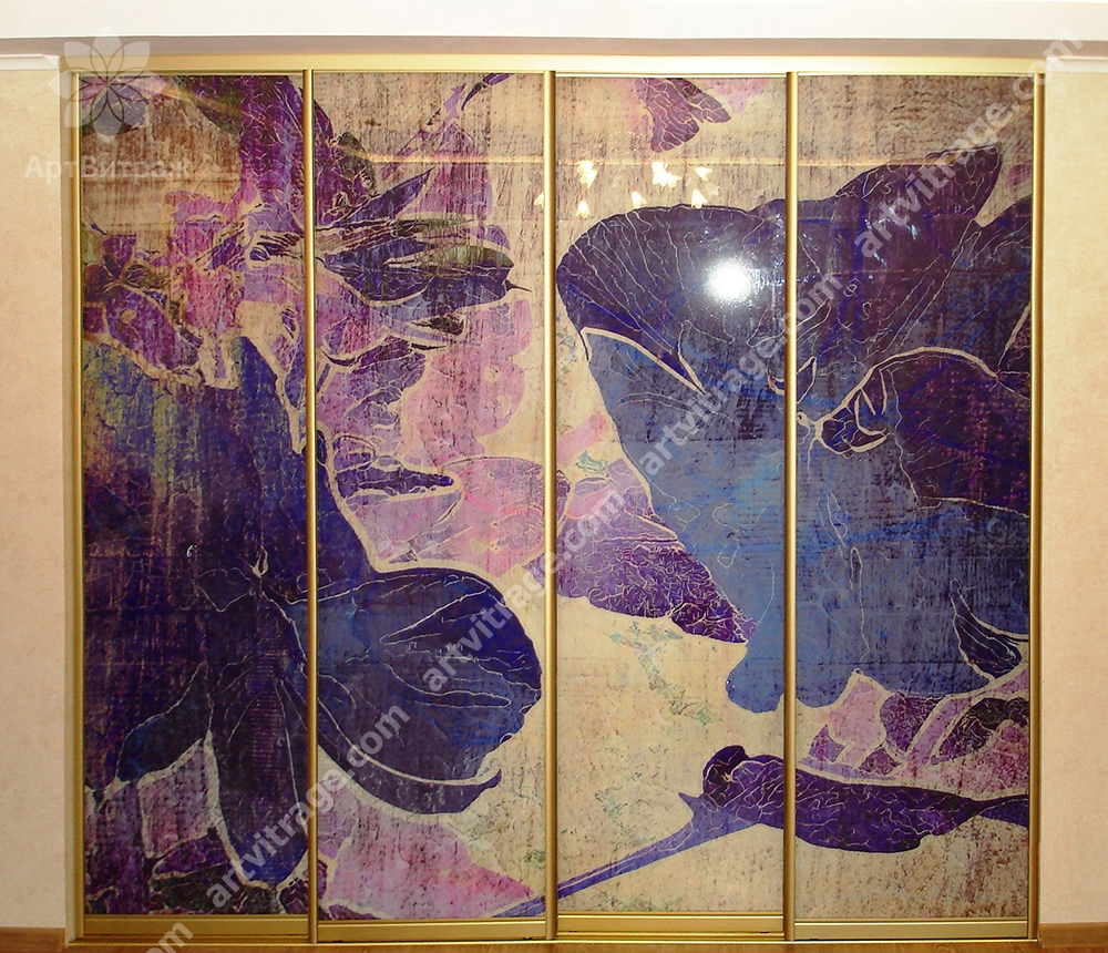 Фасад шкафа «Ирисы в акварели»