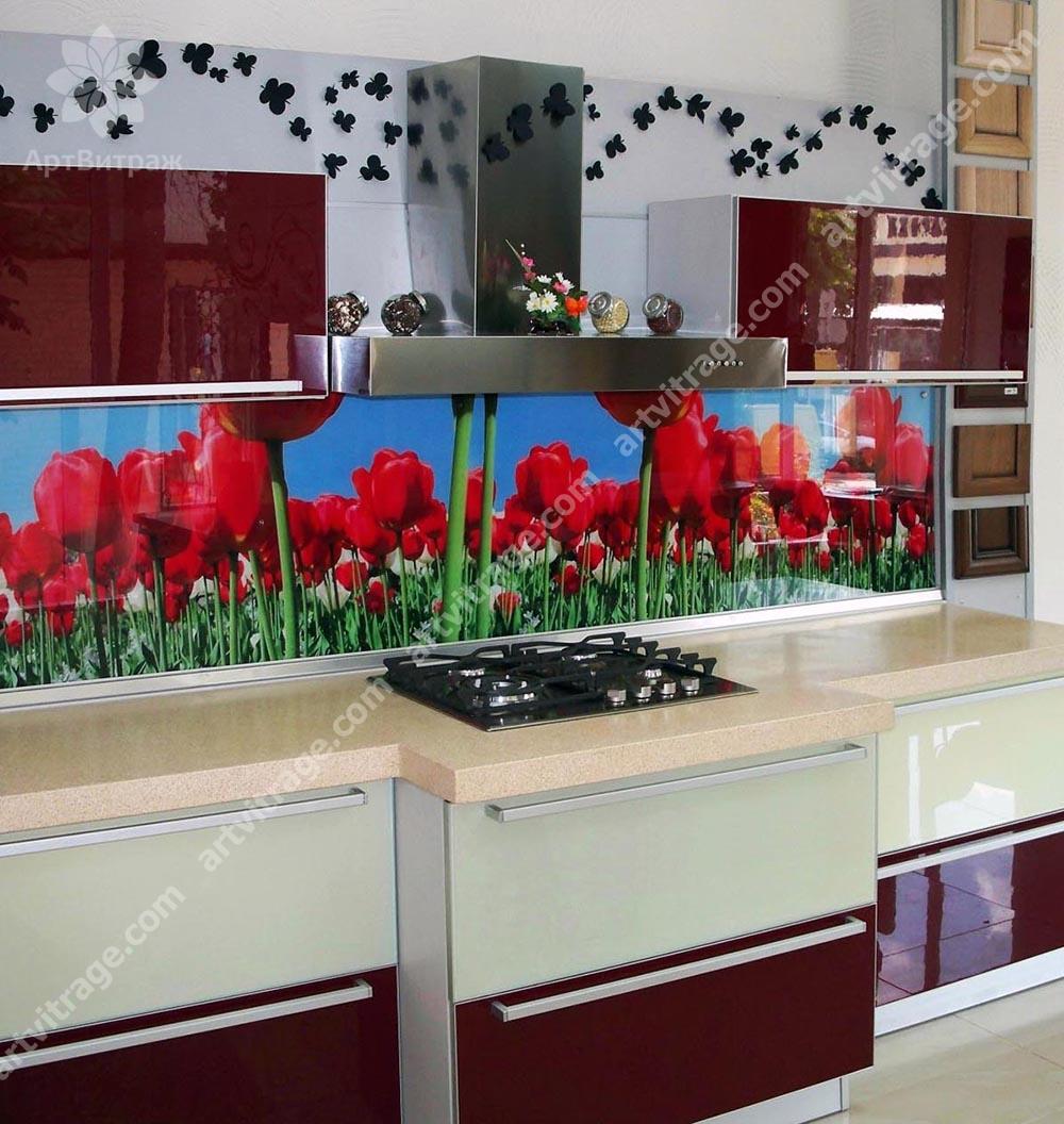 Кухонная фото-панель «Тюльпанная панорама»