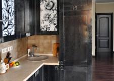 Витраж для кухонного фасада «черно-белая гжель»